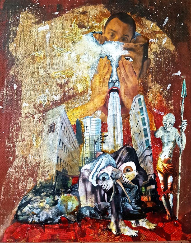 peinture acrylique et collage  sur toile d'homme