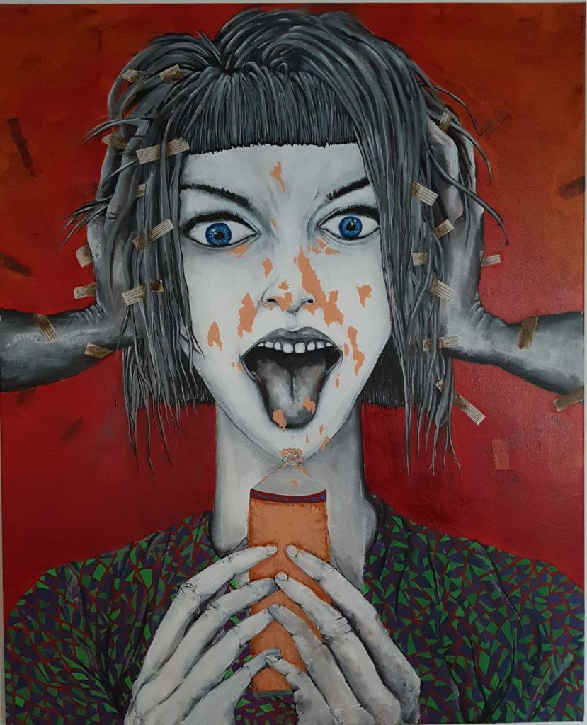 peinture acrylique et collage sur toile de femme