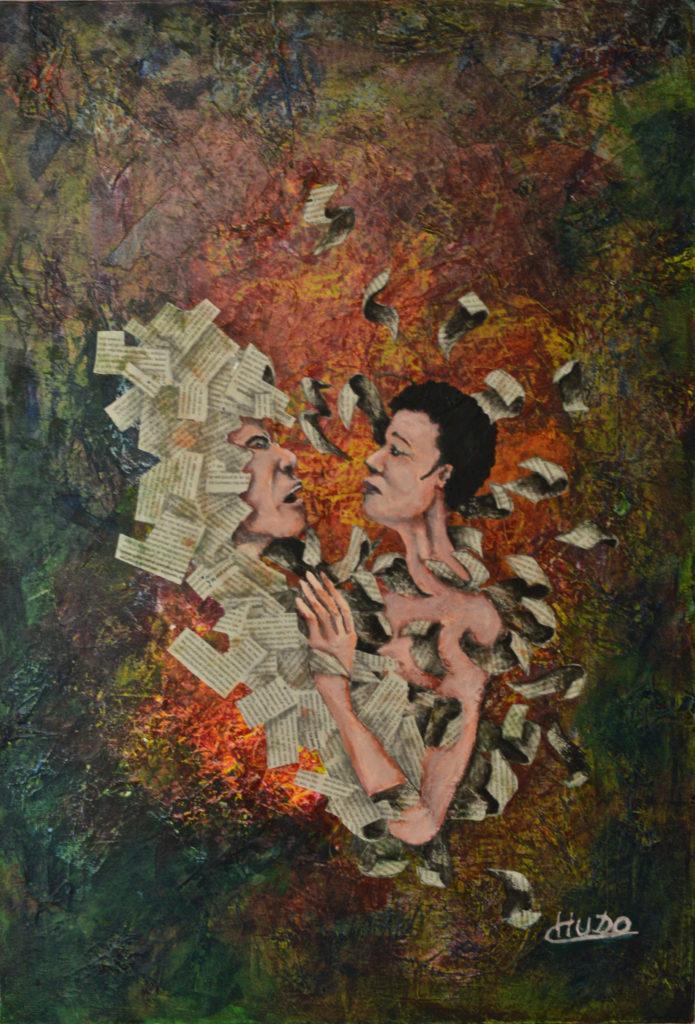 peinture acrylique et collage  sur toile d'homme  et femme
